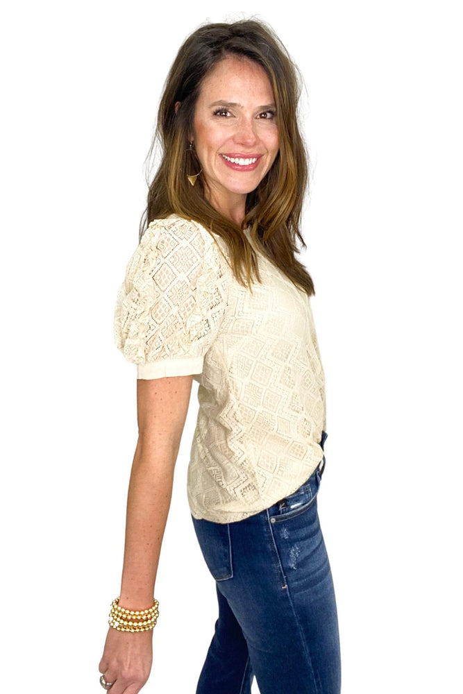 taupe lace puff shoulder top, flare jeans, spring tops, shop style your senses by mallory fitzsimmons