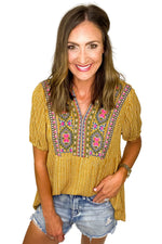 Mustard Puff Sleeve Embroidered Top