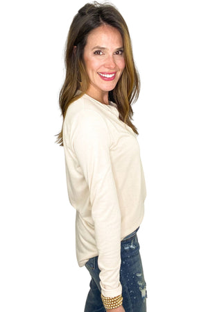 oatmeal long sleeve v neck top, boyfriend jeans, spring tops, shop style your senses by mallory fitzsimmons