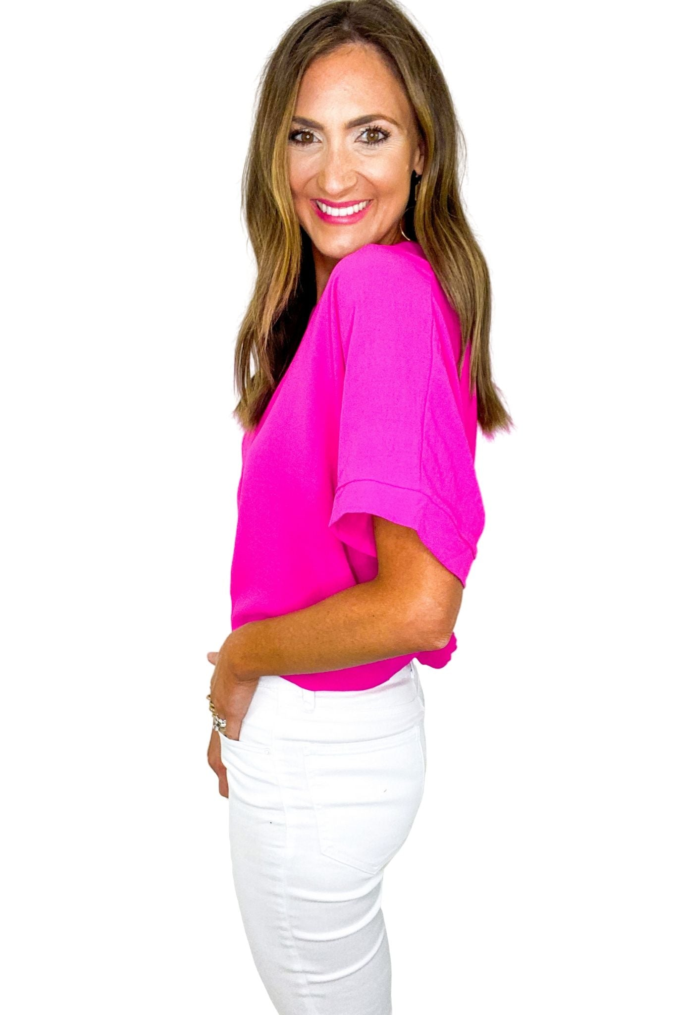 Hot Pink Boxy Top w/ Cuffed Sleeves