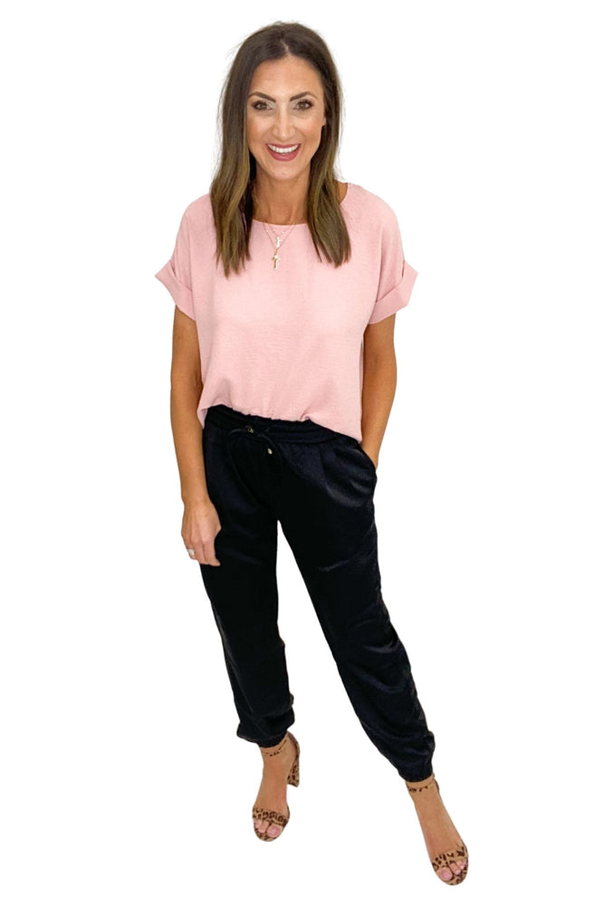 black satin joggers, pink spring top, work to weekend, shop style your senses by Mallory Fitzsimmons