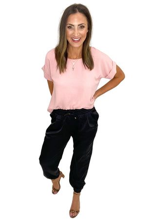 Load image into Gallery viewer, black satin joggers, pink spring top, work to weekend, shop style your senses by Mallory Fitzsimmons