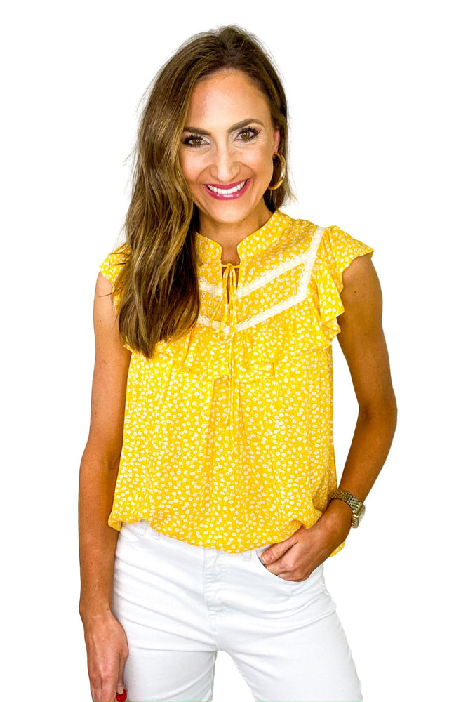 Yellow Ditsy Floral Top