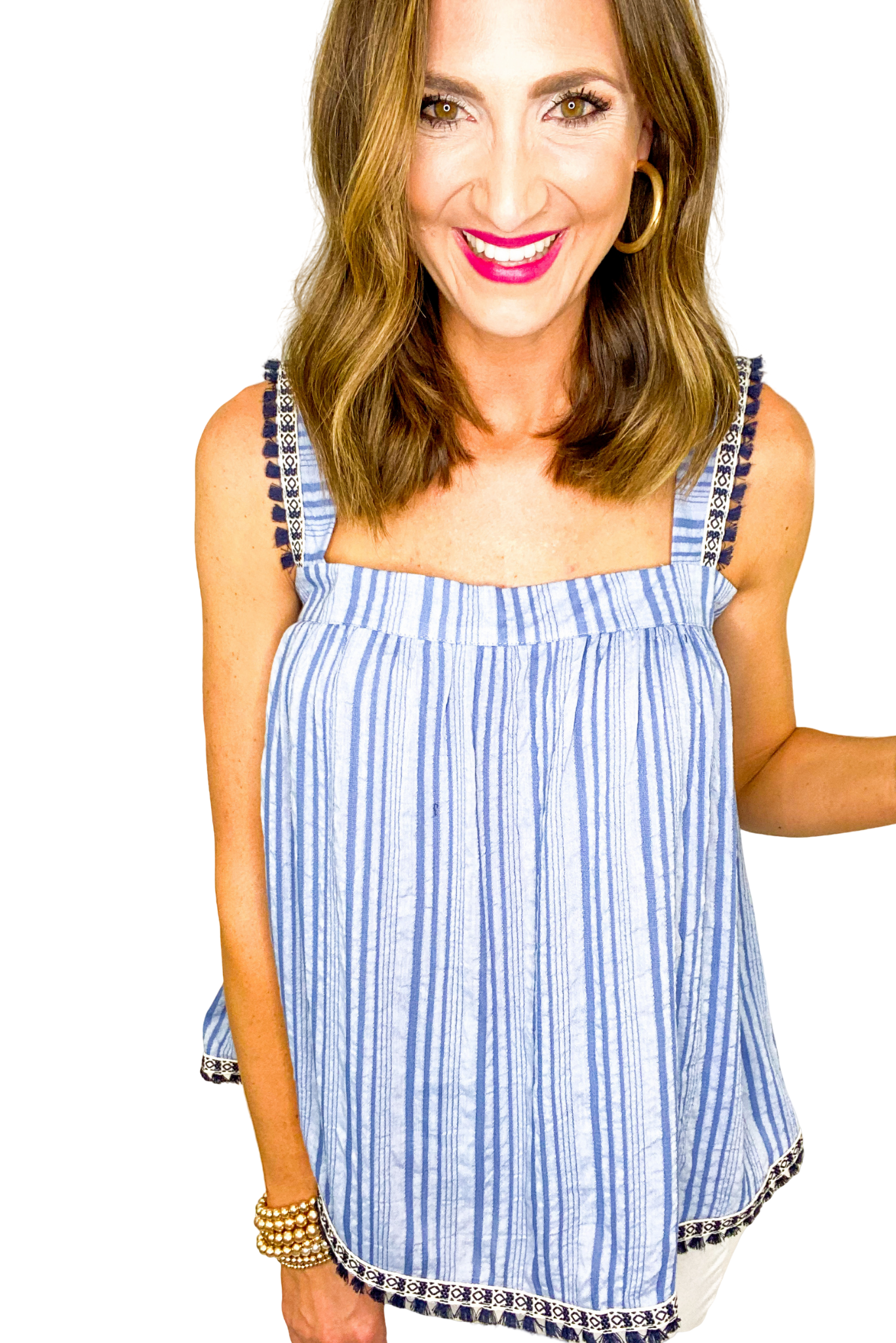 Blue Strappy Stripe Top w/ Aztec Trim