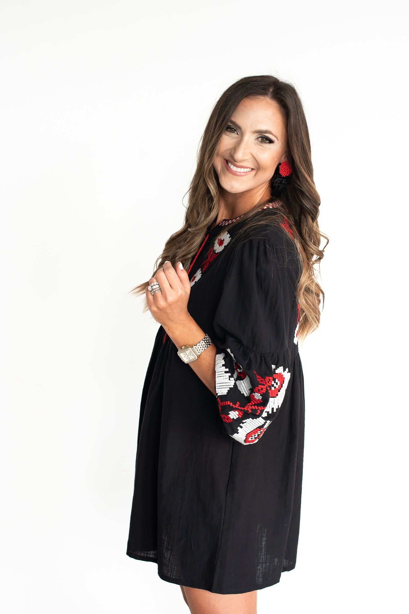 Black Long Sleeve Embroidered Dress