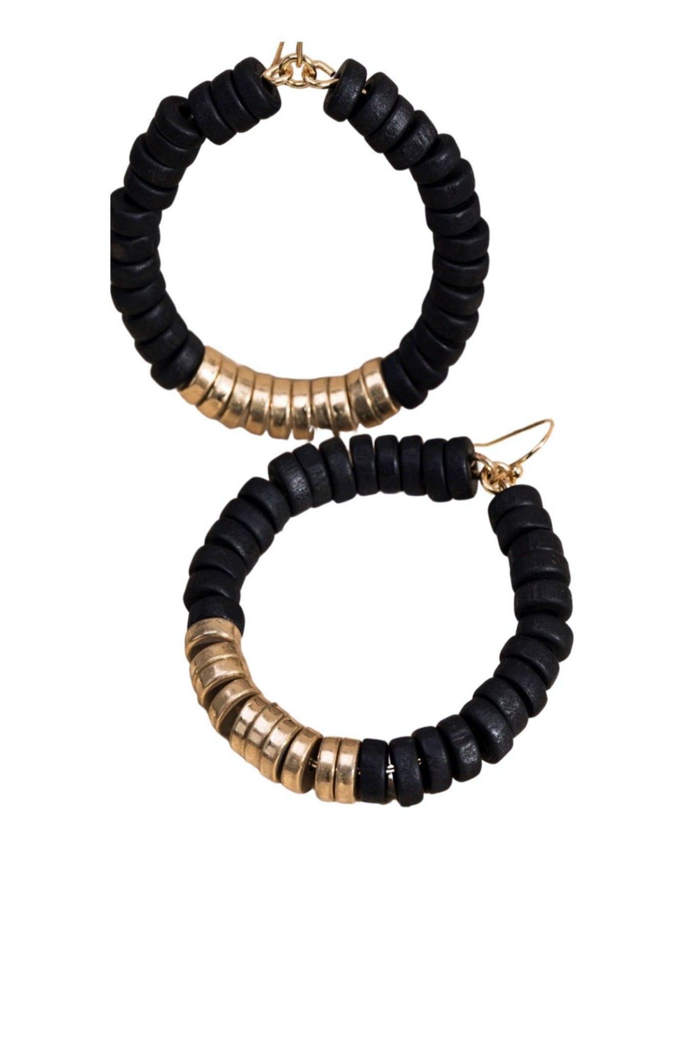 Black and Gold Wooden Bead Hoop Earrings
