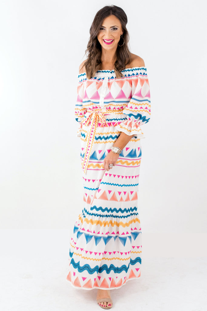 Off the Shoulder Geometric Pattern Maxi Dress