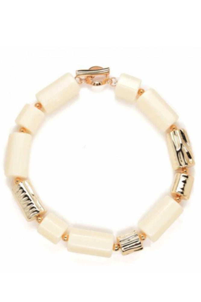 Cream Chunky Resin Tube Necklace