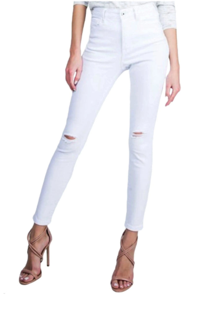 High Waisted Distressed White Skinny Jeans