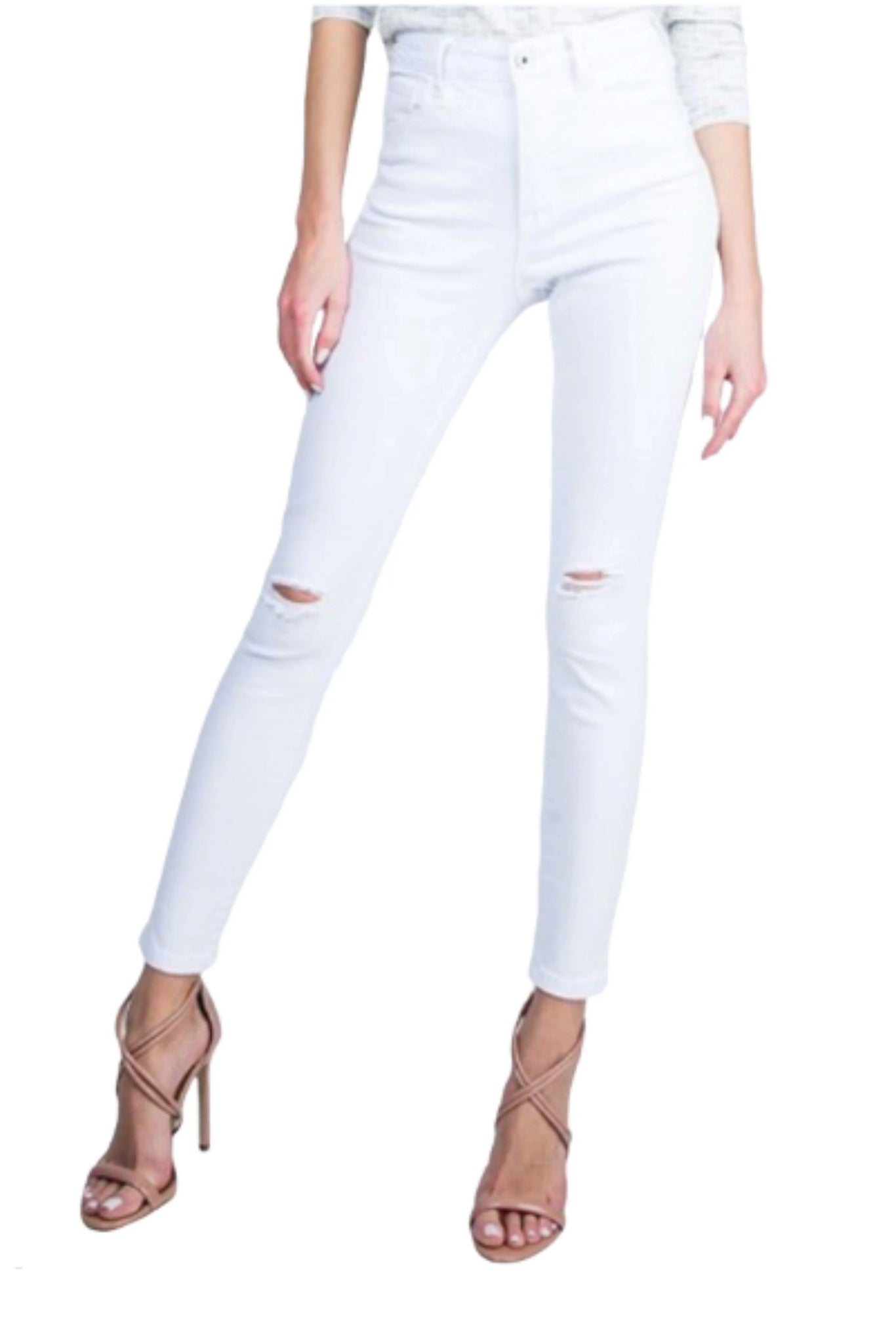 High Waisted Distressed White Skinny Jeans *FINAL SALE*