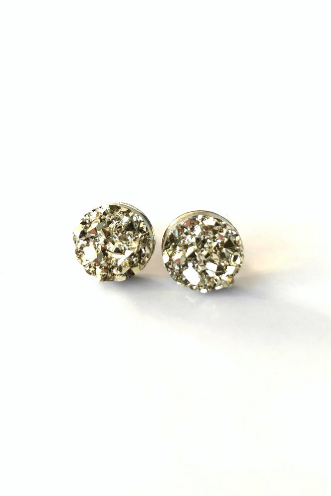 Gold Druzy Stud Earrings