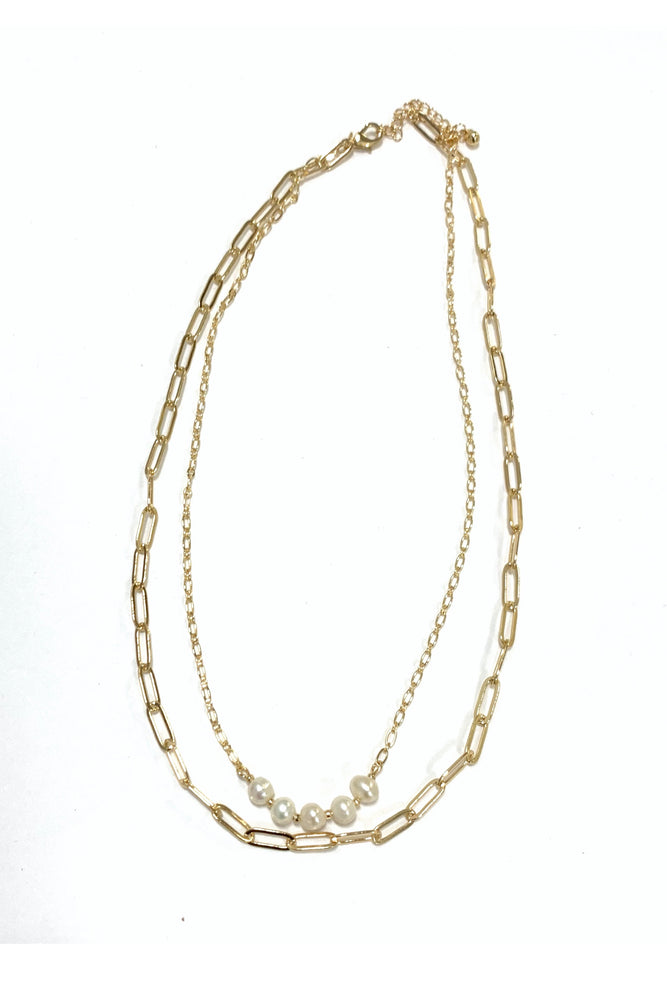 Gold Layered Necklace w/ Pearl Beads