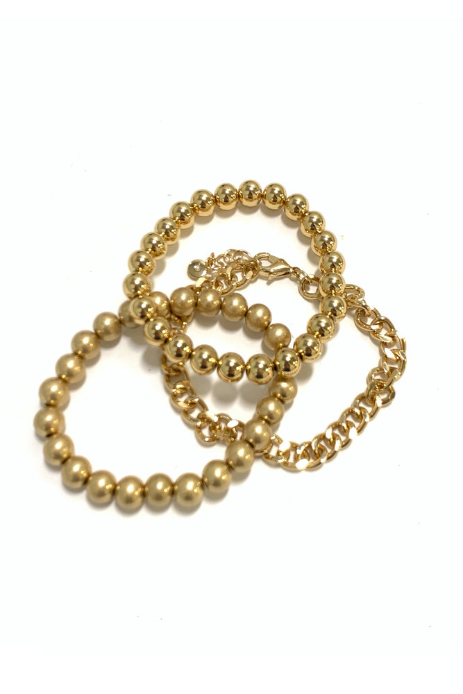 Gold Bubble and Chain Bracelet Set