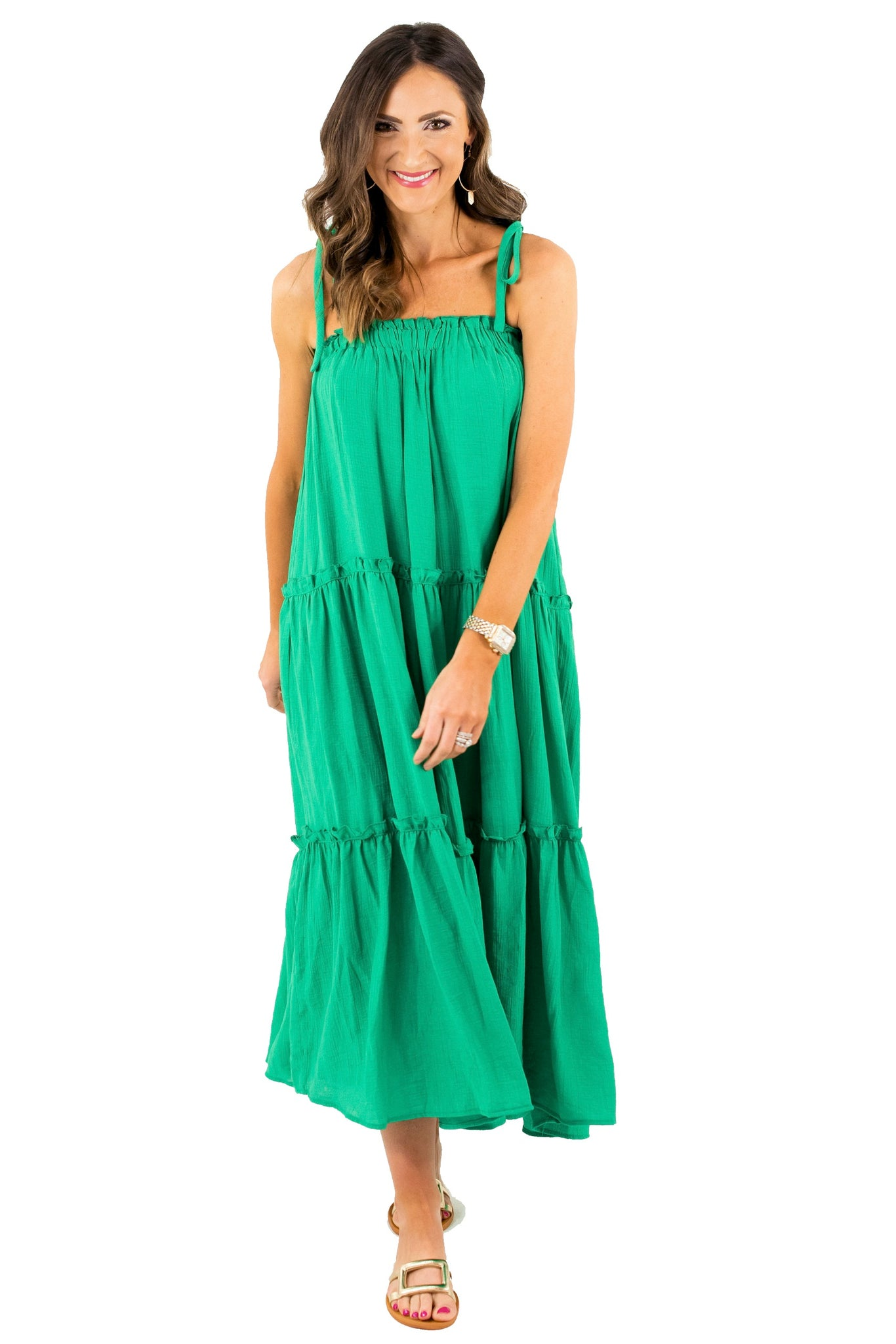 Kelly Green Tiered Maxi Dress