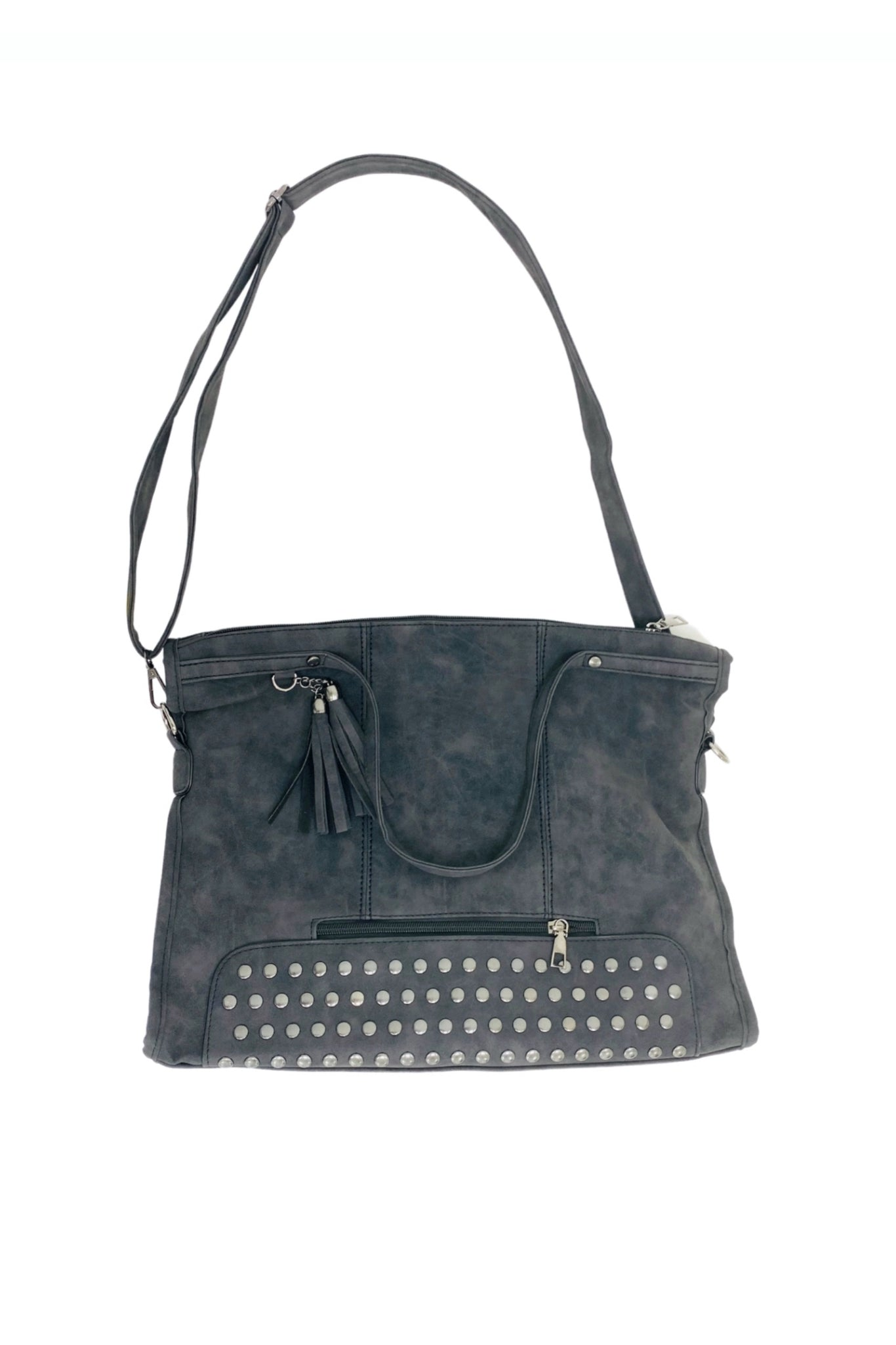 Charcoal Studded Oversized Tote Bag