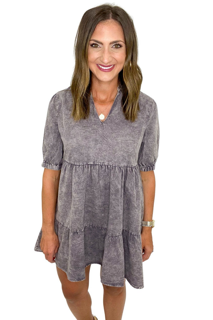 Charcoal Tiered V Neck Short Sleeve Dress