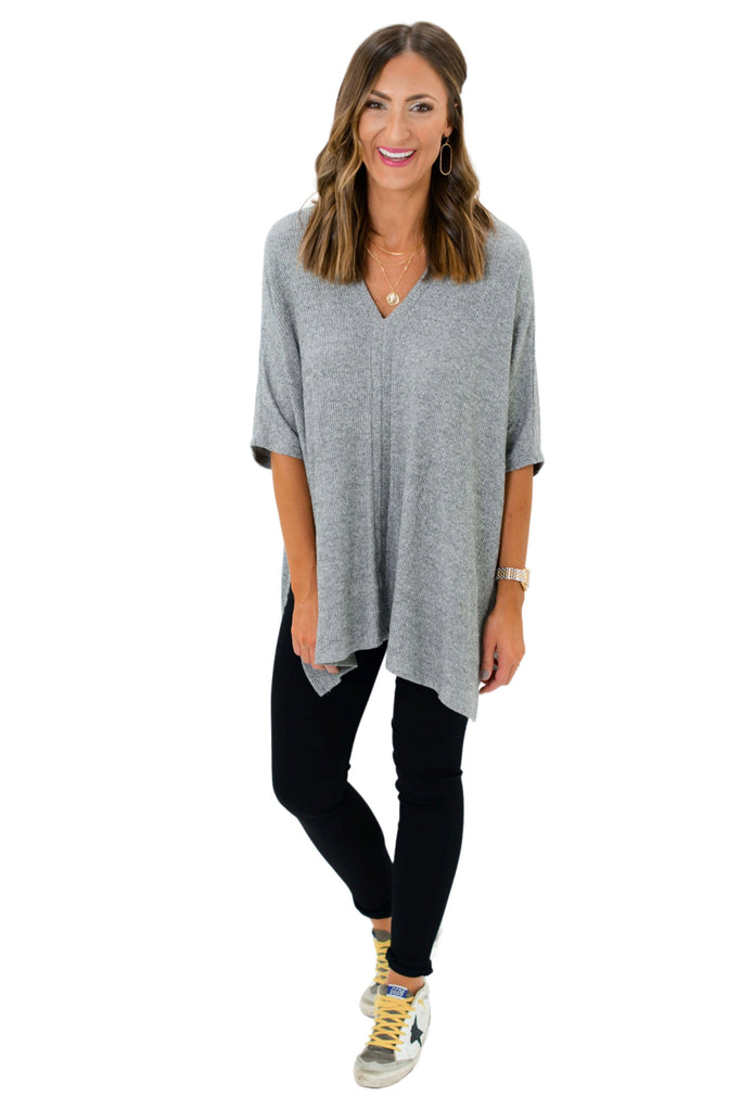 Heather Grey Ribbed V Neck Poncho