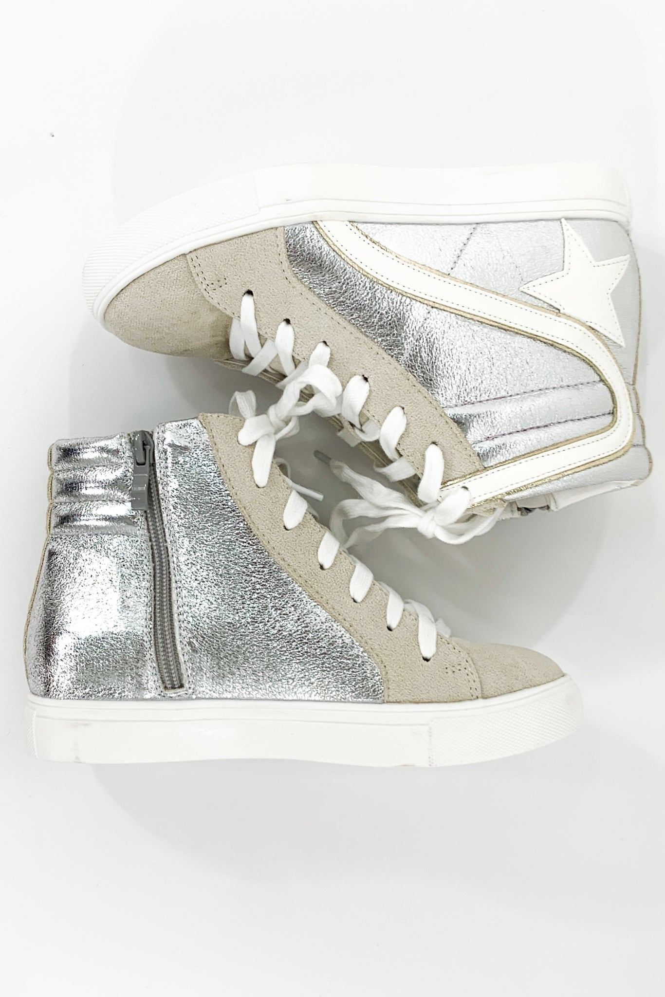Silver High Top Star Sneakers