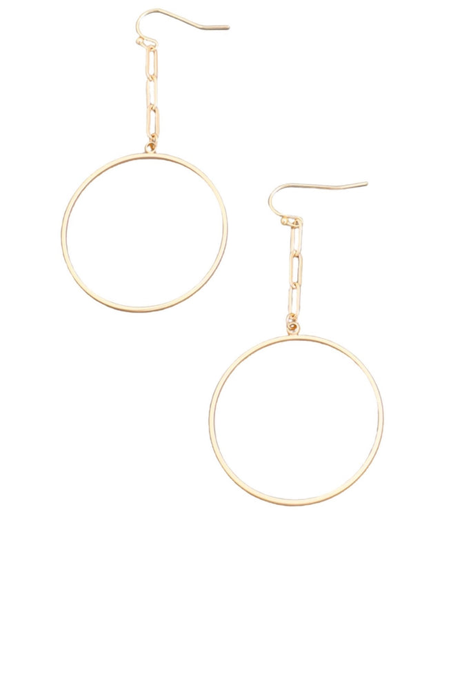 Gold Paperclip Chain Hoop Earring