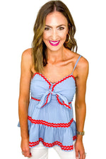 Slate Blue Ric Rac Strappy Top