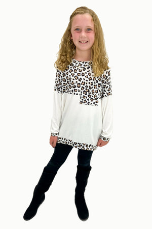 Kids Animal Print and Ivory Color Block Tunic