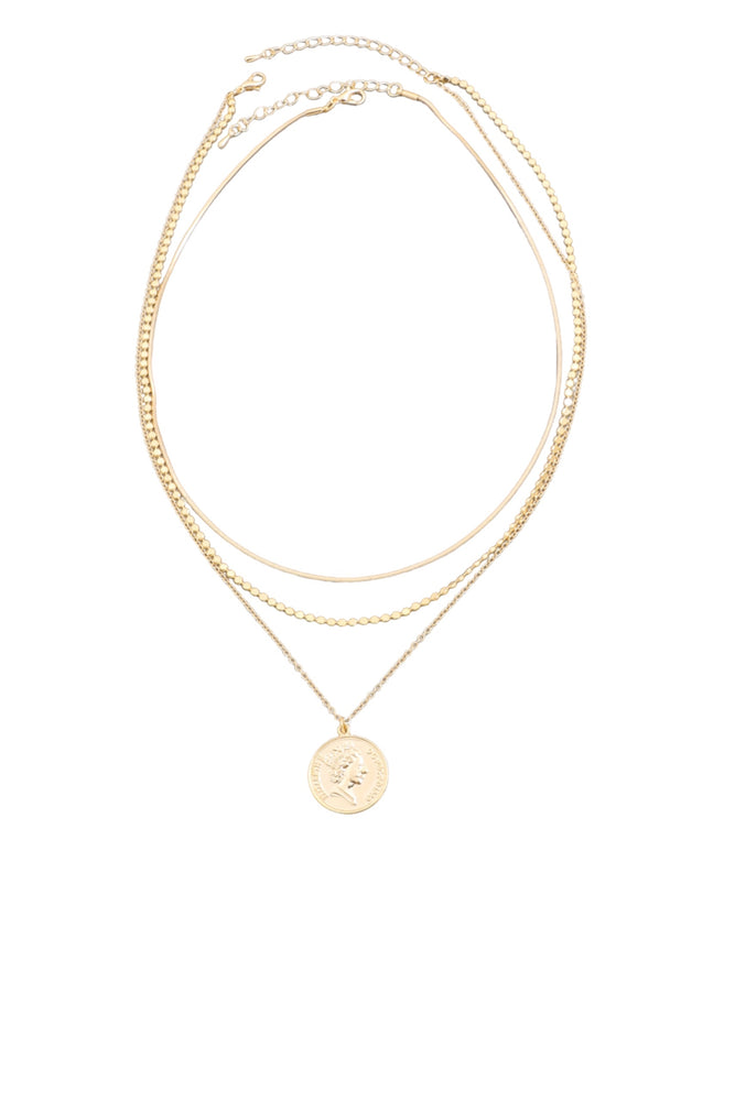 Gold Triple Layer Necklace w/ Coin Charm