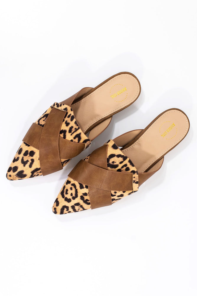 Leopard and Tan Mules