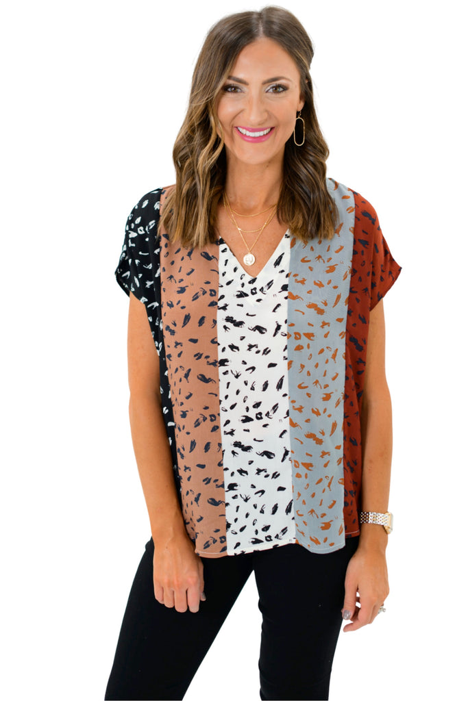 Abstract Color Block V Neck Top