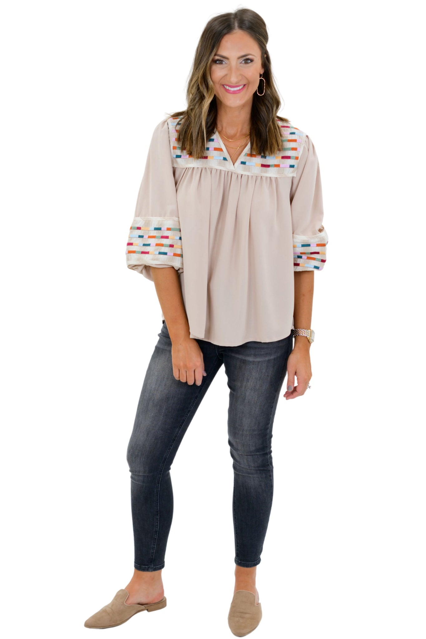 Oatmeal Balloon Sleeve Top w/ Embroidery