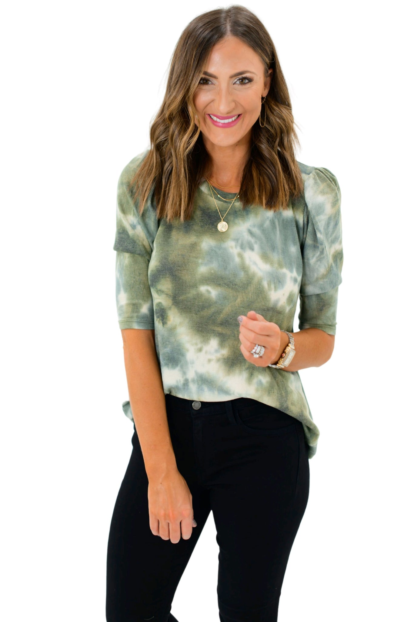 Olive Tie Dye Puff Sleeve Knit Top
