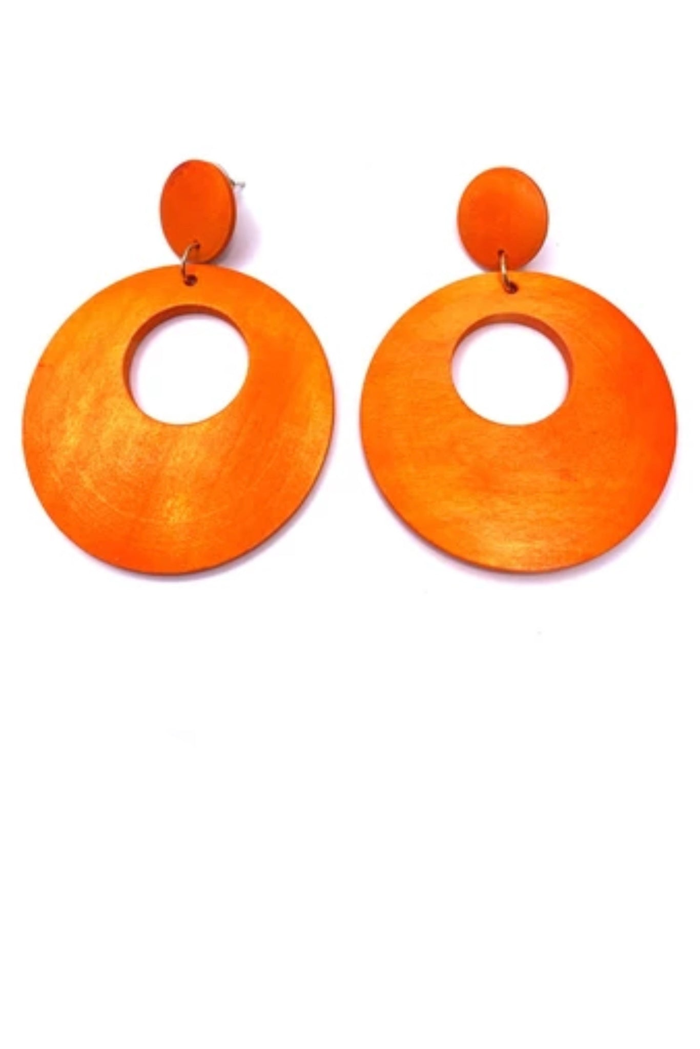 Orange Wooden Circle Earrings