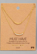 Gold Layered Necklace w/ Pave Stones