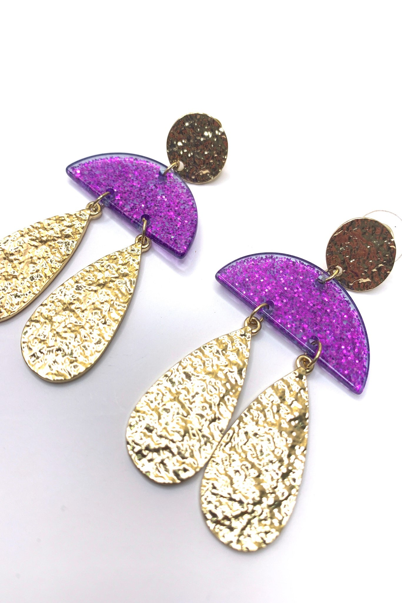 Purple Glitter Acrylic and Gold Earrings
