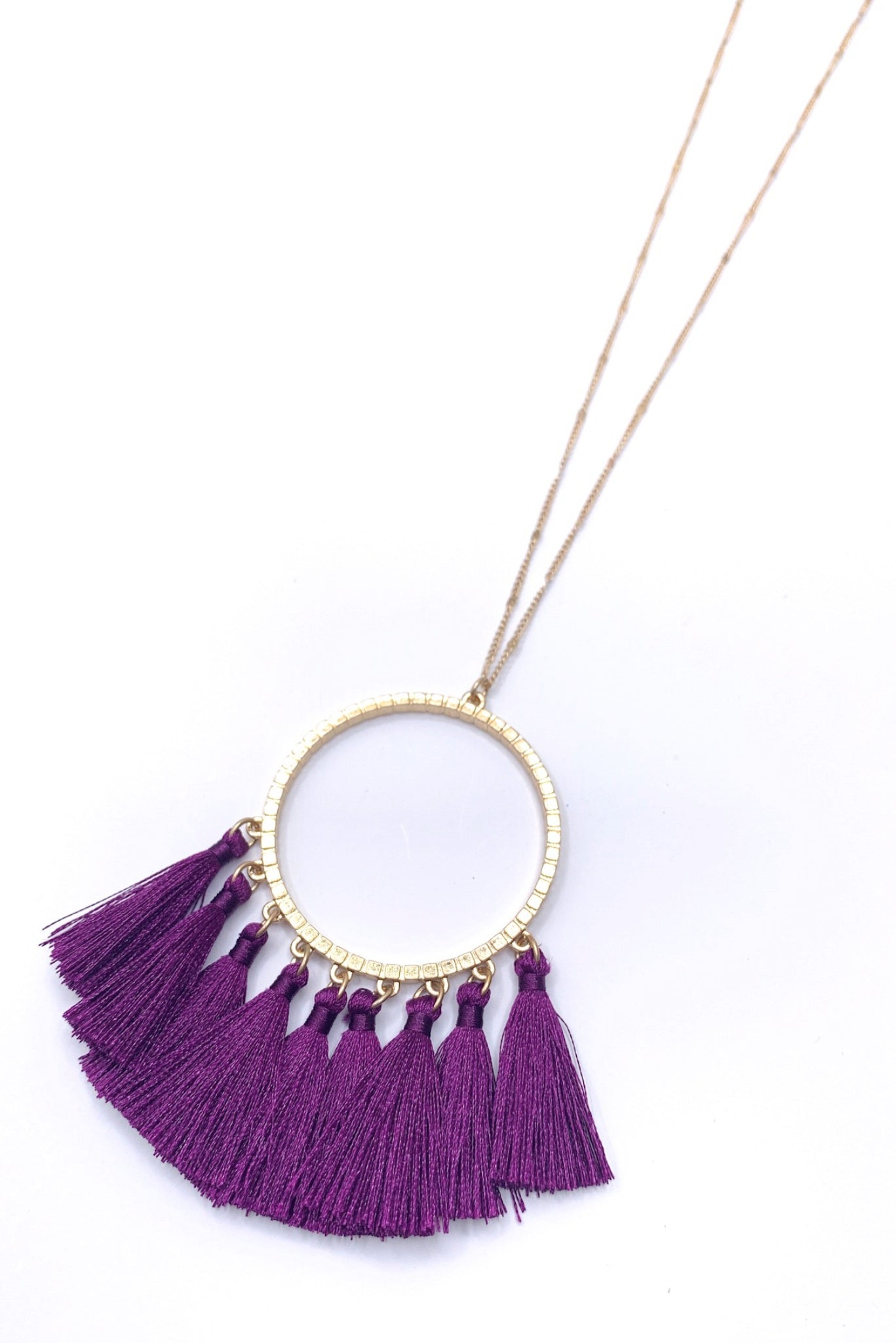 Gold Necklace with Purple Fringe