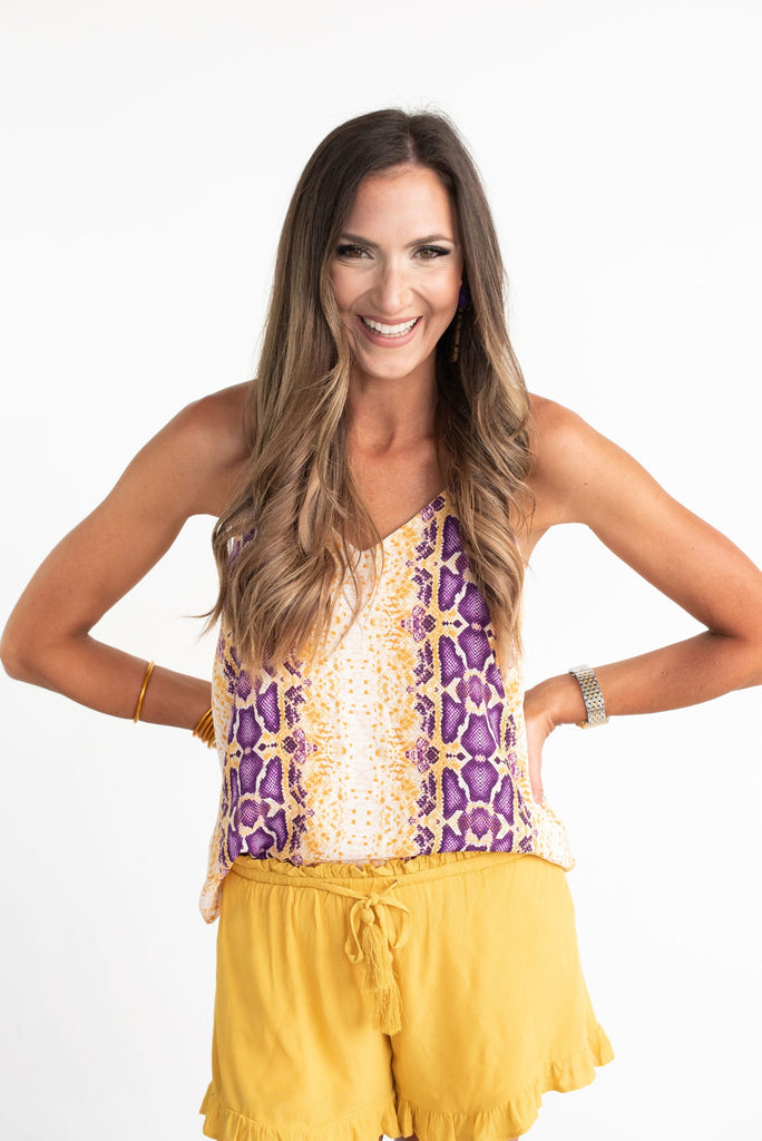 Purple and Gold Snakeskin Tank