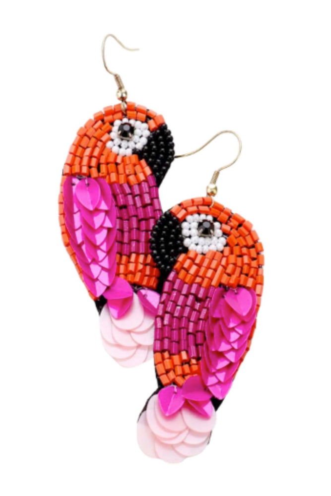 Pink and Orange Parrot Fashion Earrings