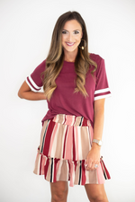 maroon skirt, Mississippi State, South Carolina, SC, Texas A&M, TAMU, USC, Minnesota, Arizona State, Florida State, FSU, Virginia Tech, game day skirt, game day outfit, tailgate outfit, tailgate skirt, maroon skirt, stripe skirt, flirty skirt, ruffle skirt, style your senses