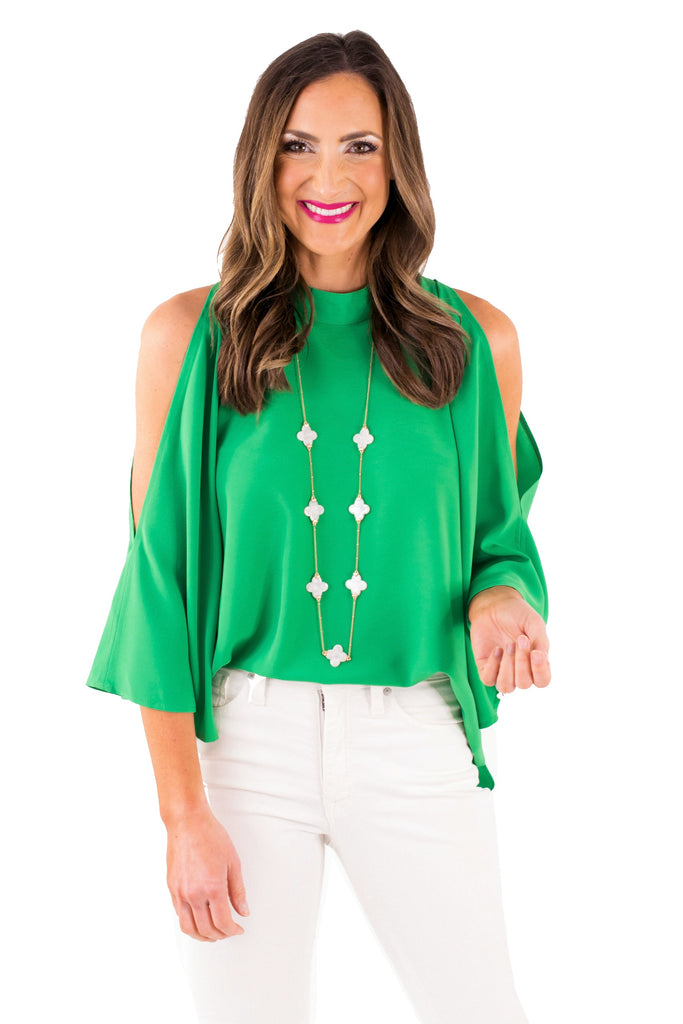 Kelly Green Split Bell Sleeve Top