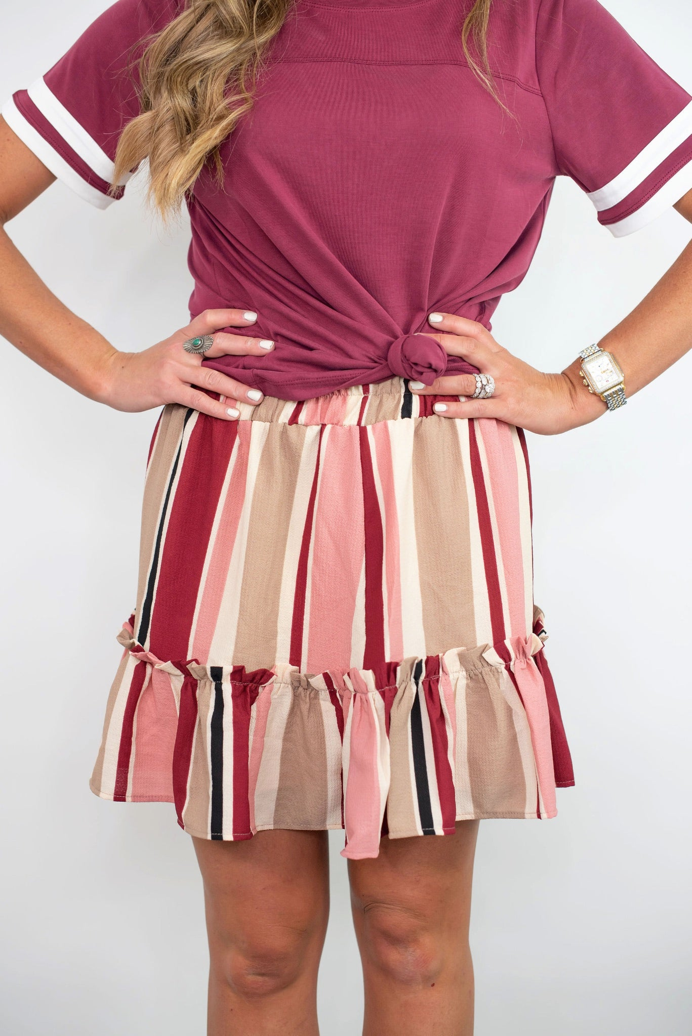 Multi Stripe Smocked Waist Skirt