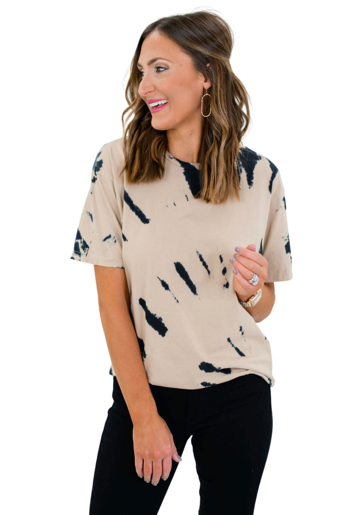 Taupe Tie Dye Ink Distressed Edge Tee