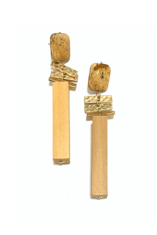 Wood and Gold Statement Earrings w/ Tan Stone
