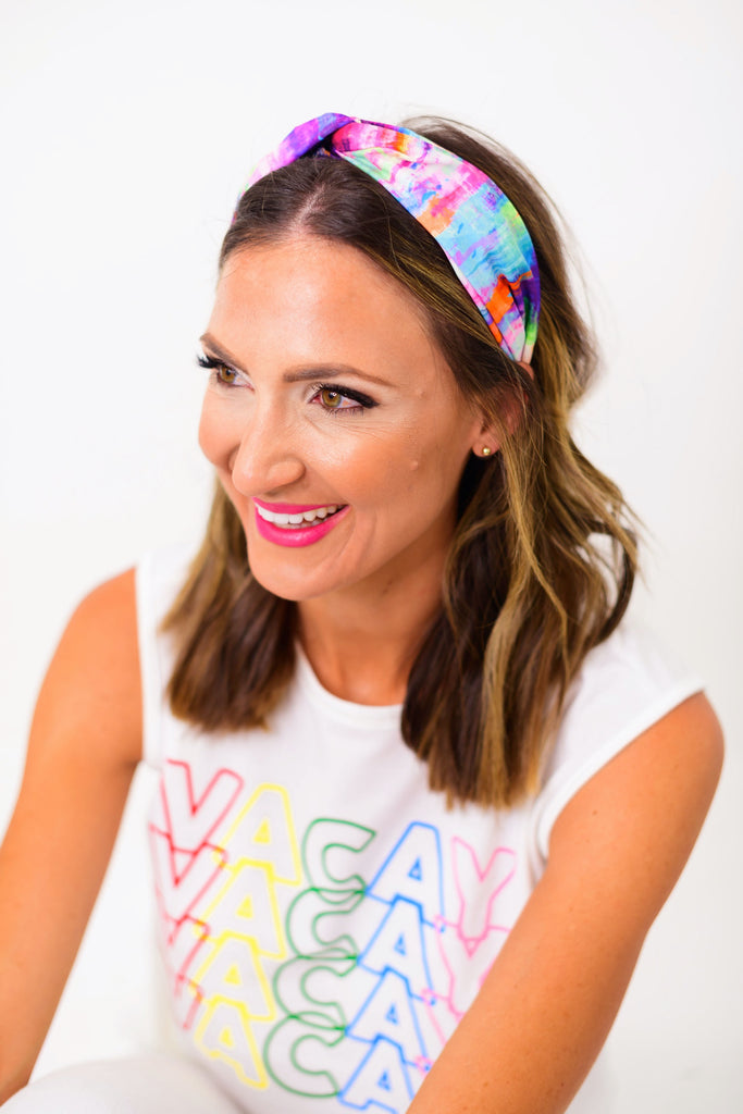 Multi Color Tie Dye Headband
