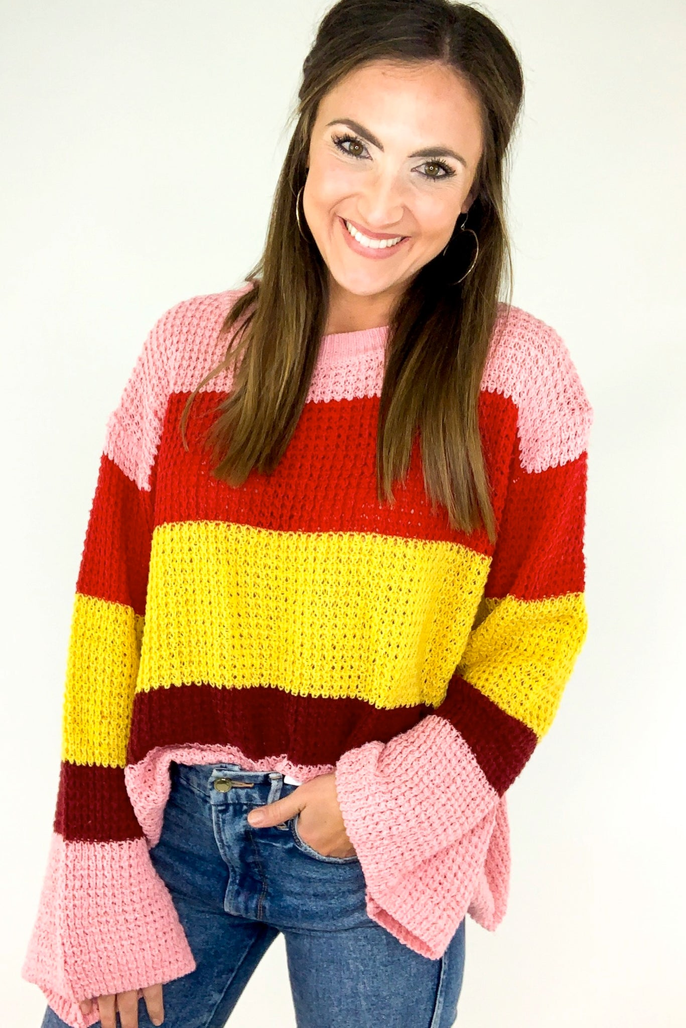 Wide Stripe Multi Color Bell Sleeve