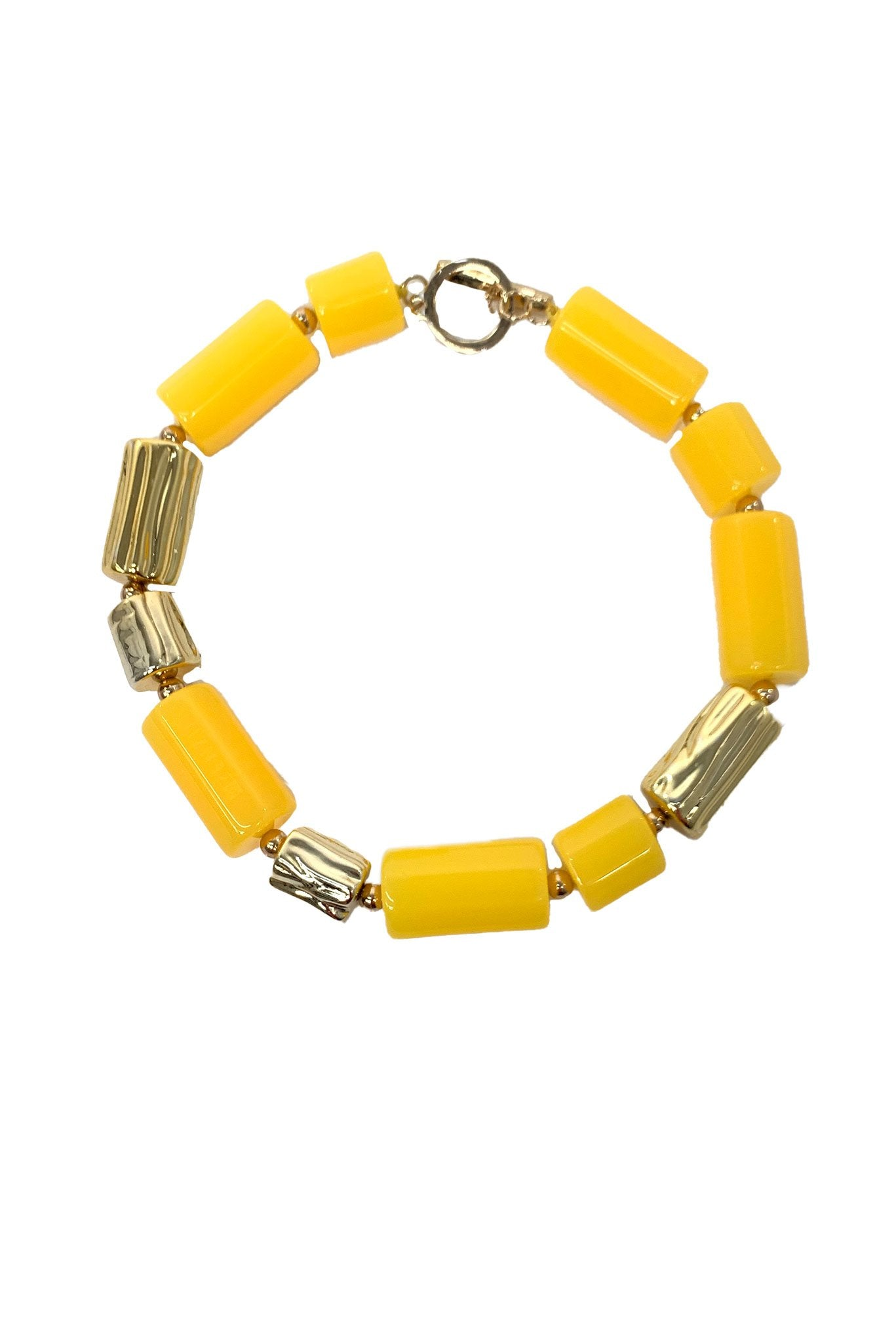Yellow Chunky Resin Tube Necklace