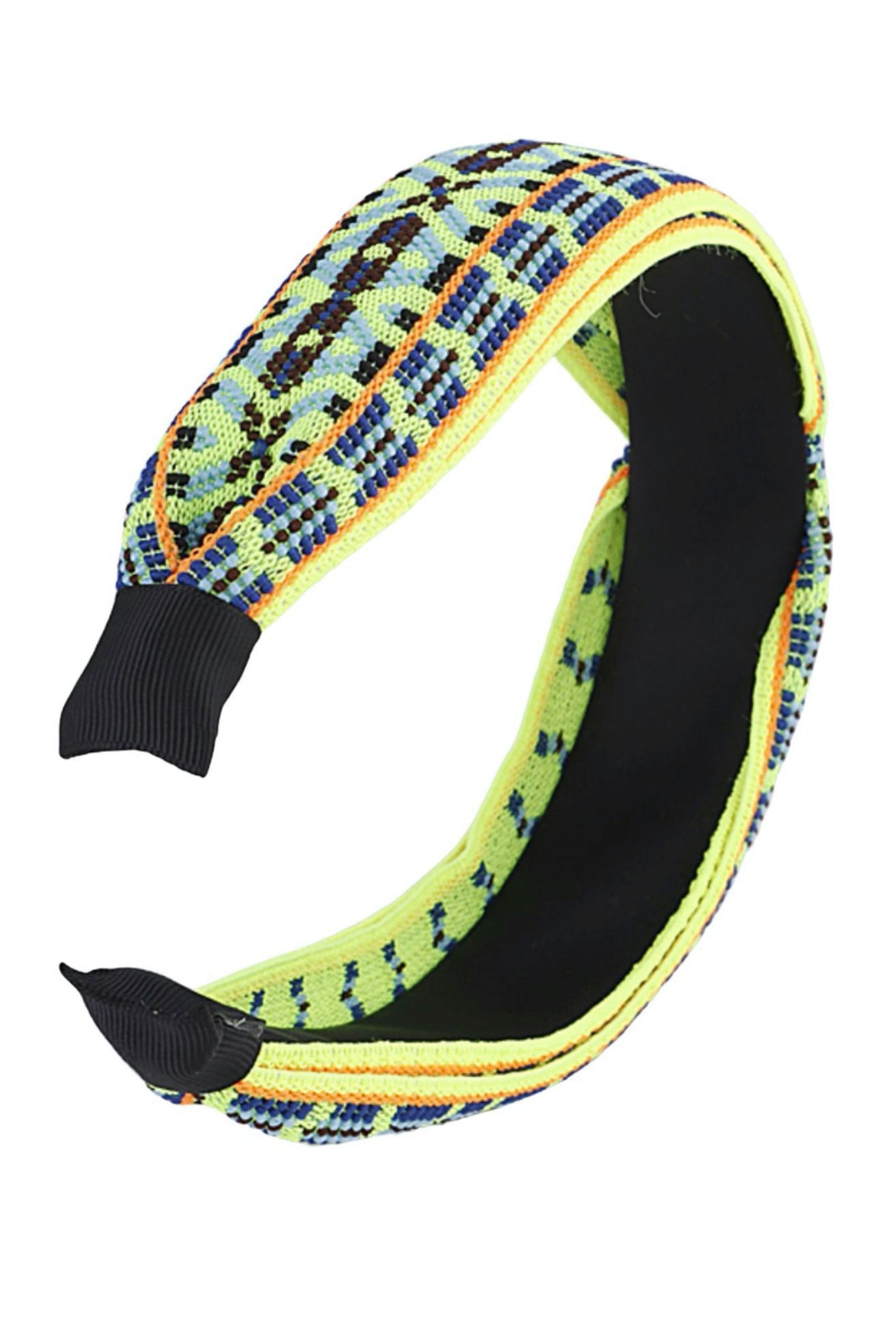 Neon Yellow Embroidered Headband