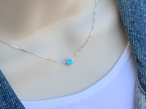 Sterling Silver Opal Square Necklace