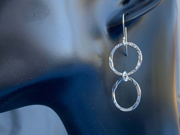 Dangle Hammered Hoop Earrings