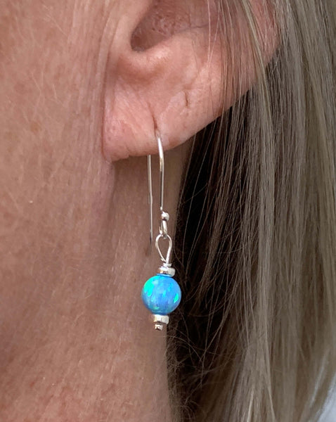 Opal Bead Sterling Silver Dangle Hook Earrings