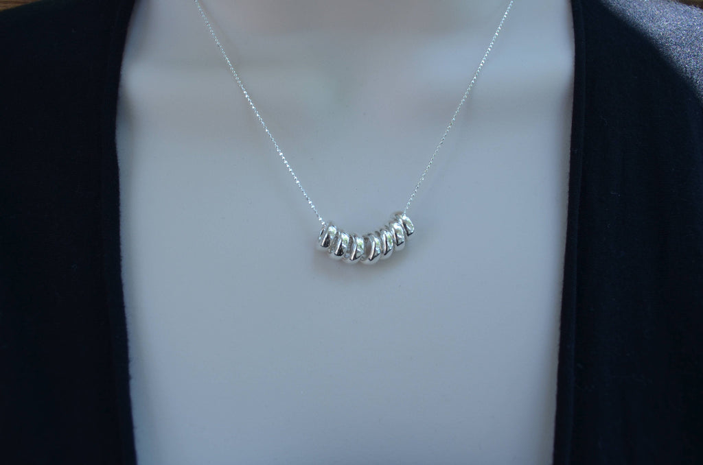 7 rings on luck sterling silver necklace