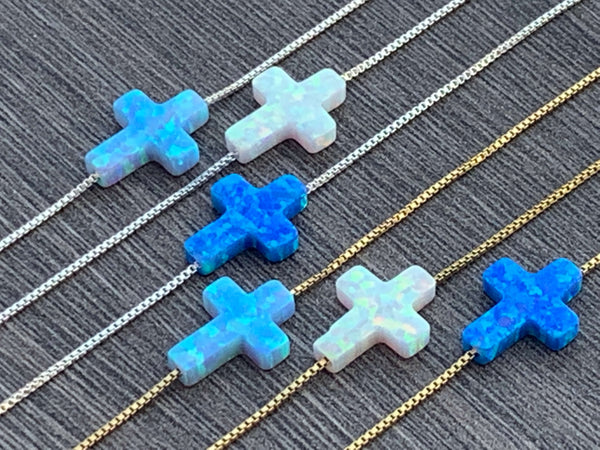 opal cross necklace Sterling Silver or 14kt Gold Filled